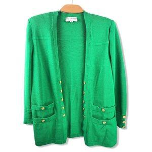 St. John Green Wool Knit Cardigan w/Gold Buttons M